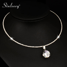 Collar Necklace Pendant Choker Statement Jewelry Cubic-Zircon SINLEERY Silver-Color Torques-Chain