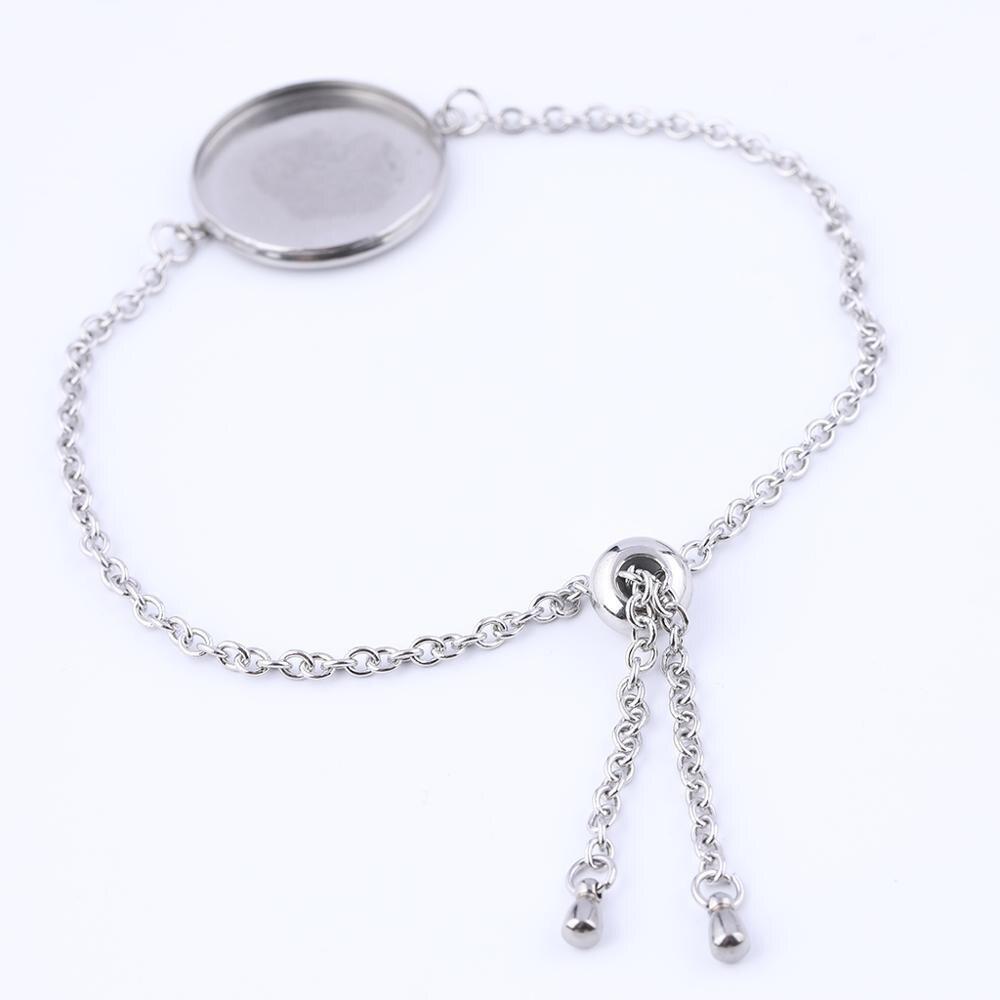 5pcs 20mm Cabochon Bracelet Base Setting Blanks Stailess Steel Adjustable Chain Bracelets Bezel Trays Diy Accessories