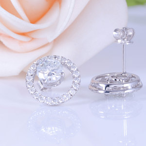 Image 4 - TransGems Solid 14K White Gold Center 1.6CTW 6mm F Color Moissanite Circle Round Stud Earrings With Accents Push Back for Women