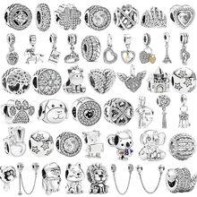 Nova cor de prata pena leão corrente de segurança coroa asa pingente caber pandora encantos pulseira diy feminino contas originais jóias