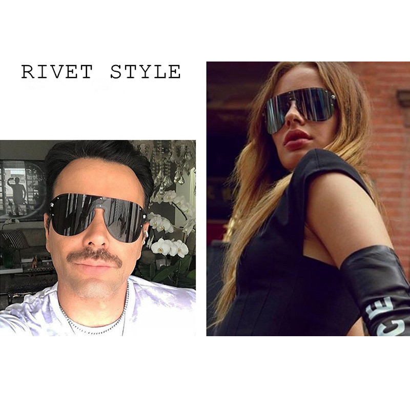 Fashion Sun Glasses For Men And Women Wind-Proof Driver Goggles Large Full Frame Metal Siamese-style Sunglasses 2020 NEW Black