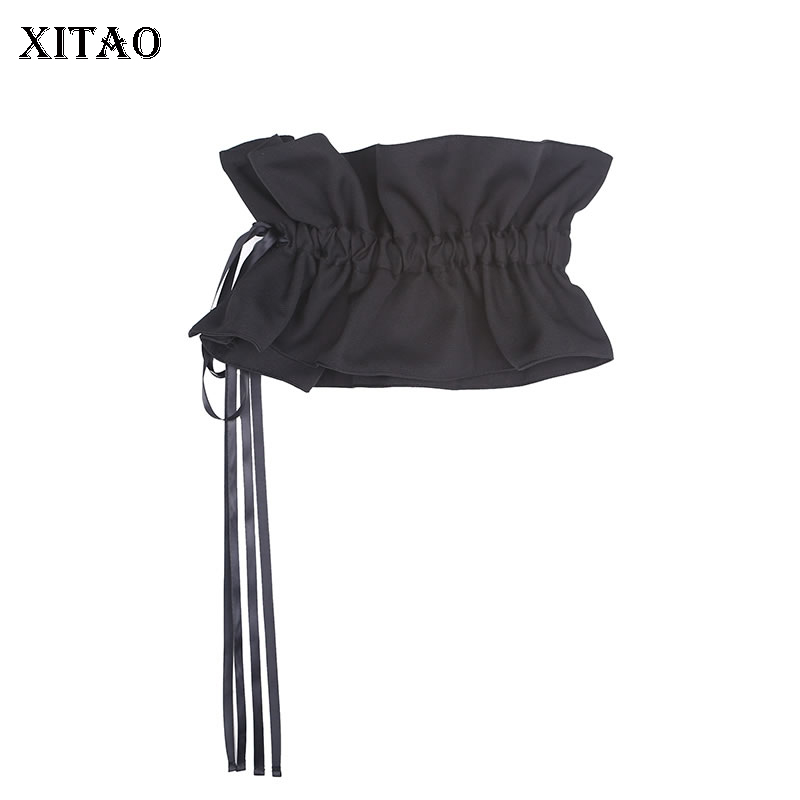 XITAO Black With Corset Cummerbunds Women 2020 Spring Elegant Drawstring Black Pleated Personalized And Niche Design ZLL4902