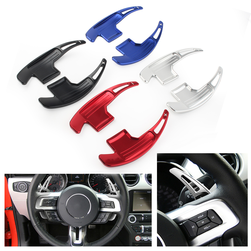 Car Steering Wheel DSG Shift Paddle Shifter Gear Extension For Ford <font><b>Mustang</b></font> <font><b>2015</b></font> 2016 2017 2018 <font><b>2019</b></font> Aluminum Accessories image