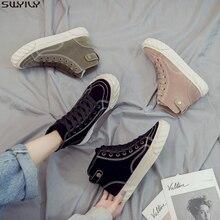 Zapatos casuales de cuero SWYIVY para mujer Zapatillas gruesas nuevas zapatillas de felpa cortas sólidas de primavera 2020 para mujer zapatos planos femeninos calientes