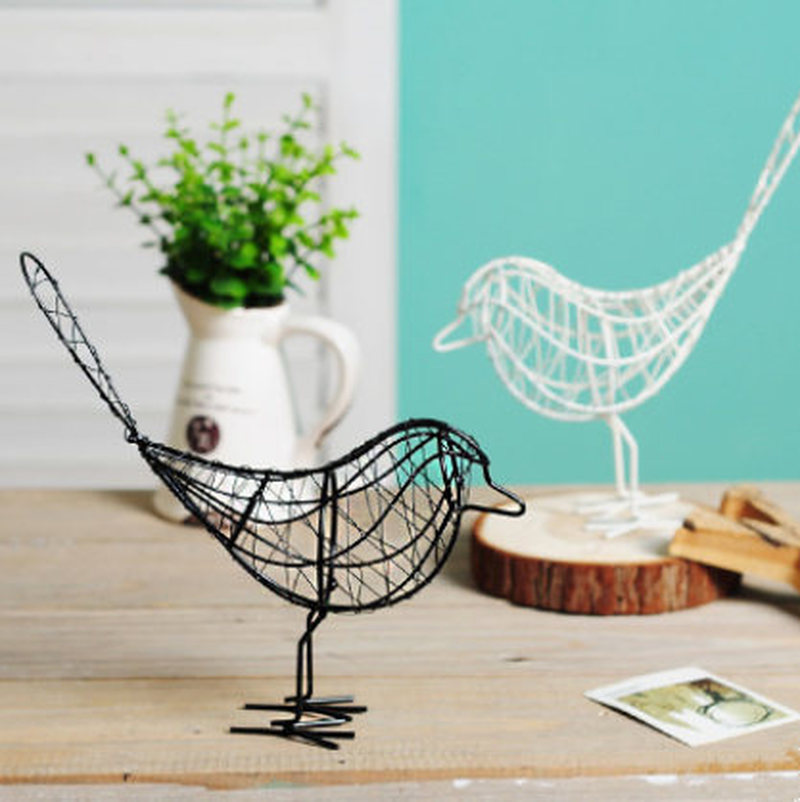 Metal Iron Wire Bird Hollow Model Artificial Craft Fashionable Home Furnishing Table Desk Ornaments Decoration Gift