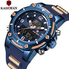새로운 도착 kademan 브랜드 남자 스포츠 시계 고무 스트랩 led 듀얼 디스플레이 패션 군사 석영 손목 시계 방수 k9055g