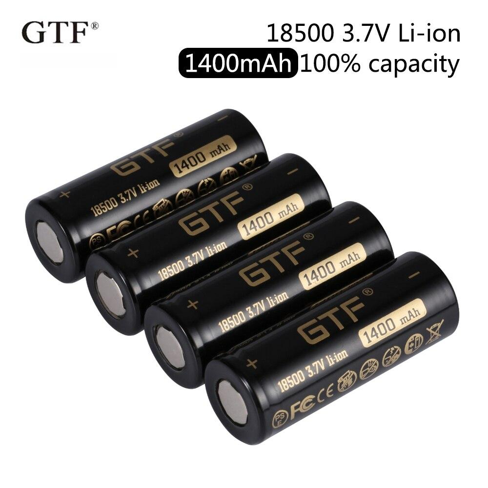 Bateria recarregável gtf 18500 1400mah 100% v, capacidade de 3.7v, bateria li-ion, para lanternas, brinquedos, produto eletrônico, cabeça plana de 3.7v baterias