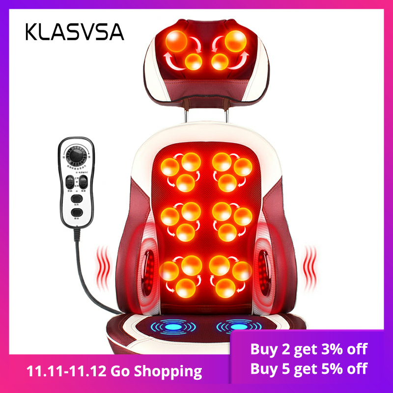 KLASVSA Eelectric Heating Kneading Massage Chair Infrared Physical Therapy Neck Pillow Back Massage Relax Seat Cushion Vibrator-in Massage & Relaxation from Beauty & Health