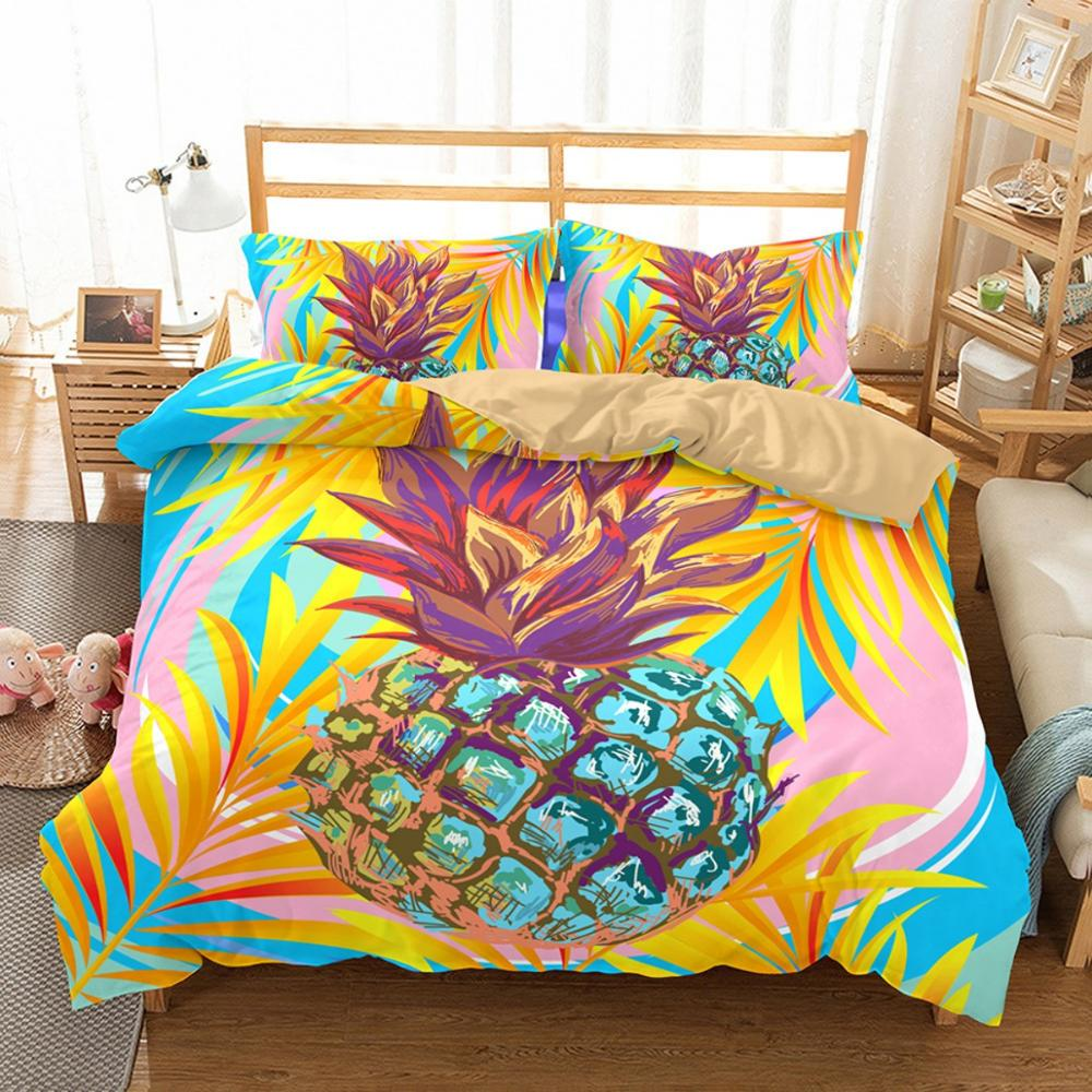 2/3pcs Fruit Pineapple Bedding Set Queen Full King Size Kids Cartoon Microfiber Duvet Cover Set Geometry Design Bed Linen Set