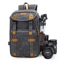 방수 바틱 캔버스 + 크레이지 호스 가죽 카메라 가방 야외 사진 dslr/slr 배낭 fotocamera slr 가방 니콘 캐논에 대한