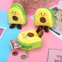 Monedero de felpa suave con dibujos de aguacate para mujer, Mini monedero escolar con cremallera para chicas, monedero con Cable USB, billetera para llaves