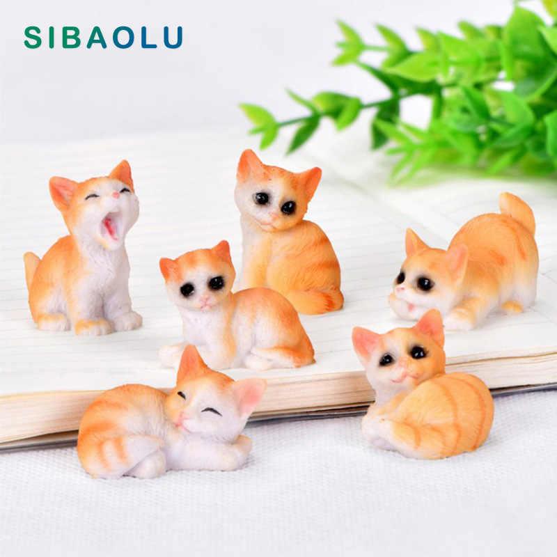 Chat chien cochon Figurine dessin animé Animal modèle décor à la maison ornement bureau bonsaï Miniature fée jardin décoration accessoires moderne