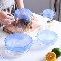 6/12PCS Reusable Frische Halten Dichtung Abdeckungen Kompression Universal Silikon Stretch Deckel Küche Zubehör Verwenden Für Küche Lebensmittel