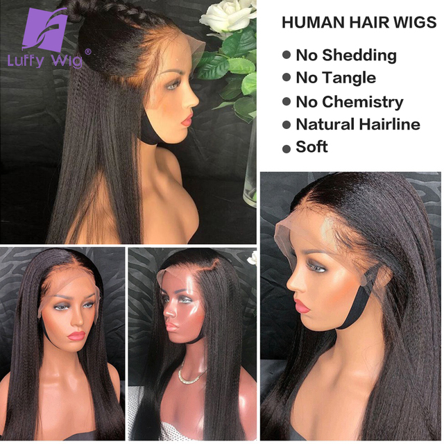 Yaki Straight 5x4.5 Silk Base Wigs PrePlucked Remy Peruvian Lace Front Human Hair Wigs With Baby Hair Glueless LUFFY 3