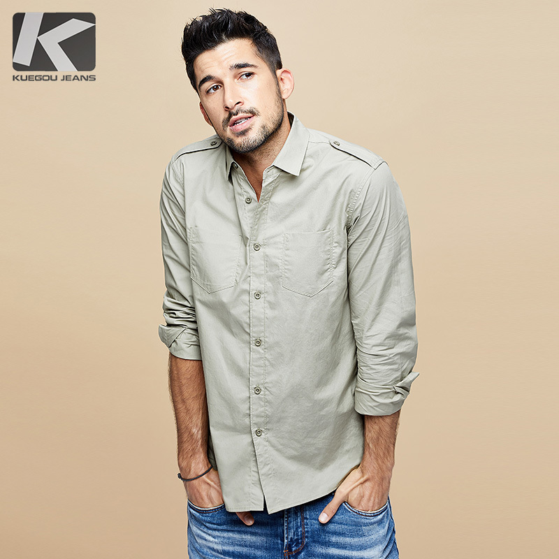 KUEGOU 2019 Autumn 100% Cotton Black White Shirt Men Dress Button Casual Slim Fit Long Sleeve For Male Fashion Brand Blouse 6178