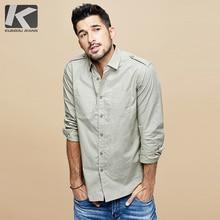 Kuegou 2020 outono 100% algodão preto branco camisa dos homens vestido botão casual fino ajuste manga longa para o sexo masculino marca de moda blusa 6178