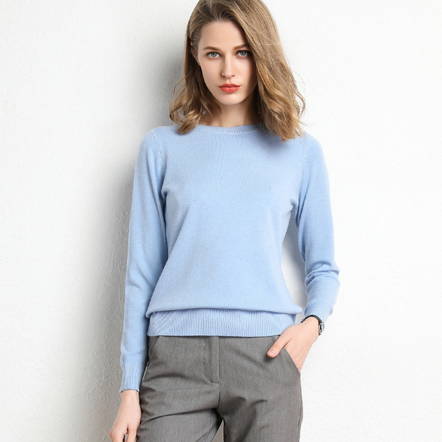 New Women Sweater Autumn Winter Clothes Solid Round Neck Sweater Jumper Long-sleeved Knitted Pullovers Shirt Female Tops 6
