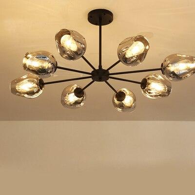 Modern Chandelier Lighting Living Room Lights Glass Lampshade LED Golden Black Vintage Pendant Lamp Dining Room Kitchen
