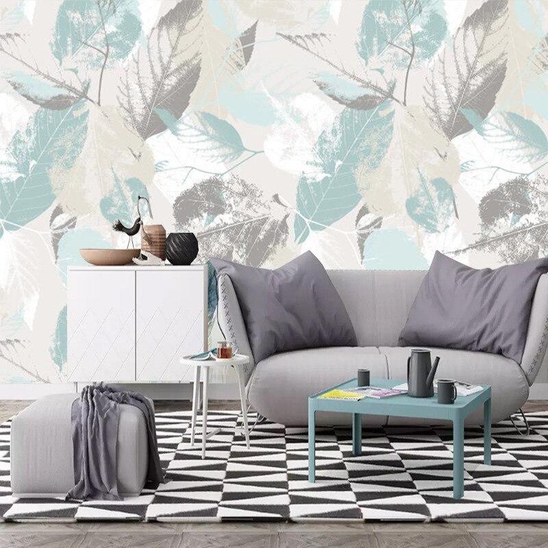 Обои в скандинавском стиле, креативные нетканые обои с листом, Простые художественные обои, ТВ-фон на заказ, фрески