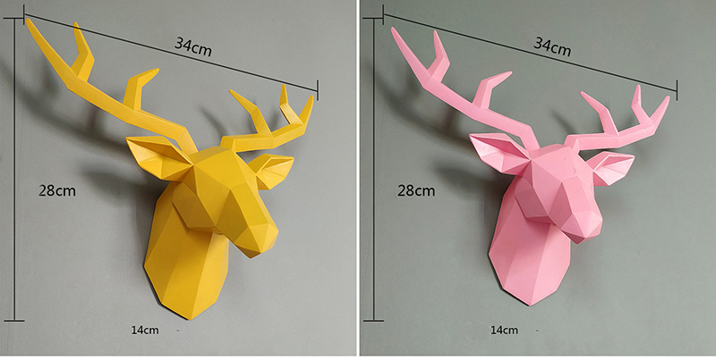 3D Deer Statue Sculpture Room Decor Home Decoration Accessories Figurine Wall Hanging Modern Decorations Animal Resin Statues (6)