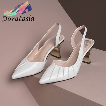 DORATASIA Genuine Leather Female Sandals Summer Pointed Toe Pleated Back Strap High Heels Sandals Women Leisure Shoes Woman
