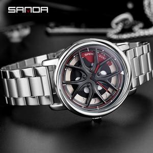 Image 3 - SANDA 2020 Hot Sell Men Watch Fashion Creative Rotating Dial Wheel Watches Steel Strap Quartz Wristwatch Relogio Masculino 1025