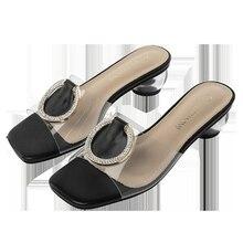 Size 35-43 Slipper Women Man-made Diamond Anti-slip Fashion Summer Semi-high Heeled Chunky-Heel Sandals Women Sandals Slipper