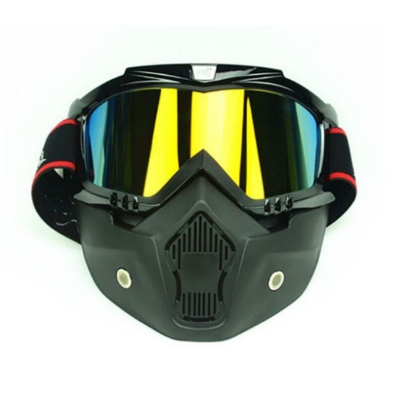 Lunettes de moto détachables Ski Snowboard UV400 Protection Anti-UV coupe-vent anti-poussière anti-buée lunettes de sécurité masque facial