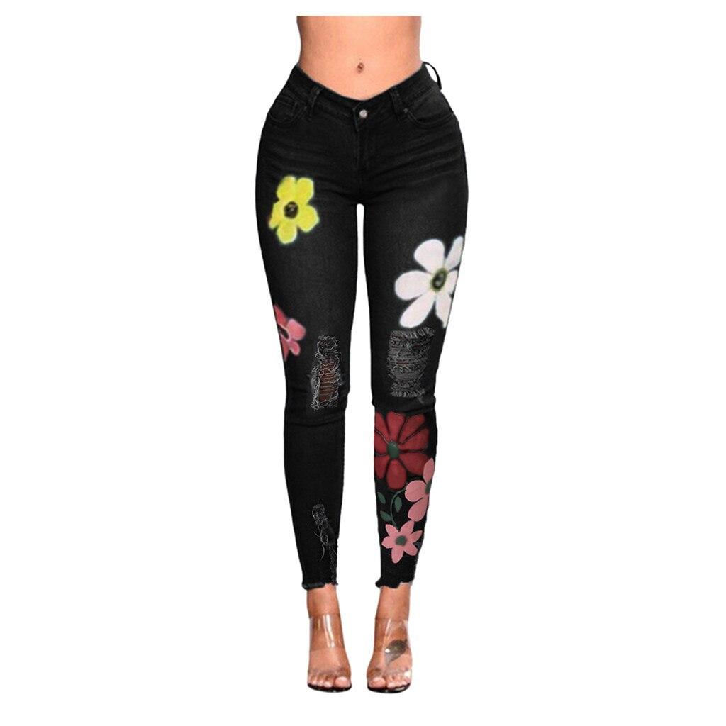 SAGACE New Fashion Trousers  Mid Waist Jeans Women Pencil Pants Women's Wild Print Hole Slim Long Jeans Elastic Skinny Pants