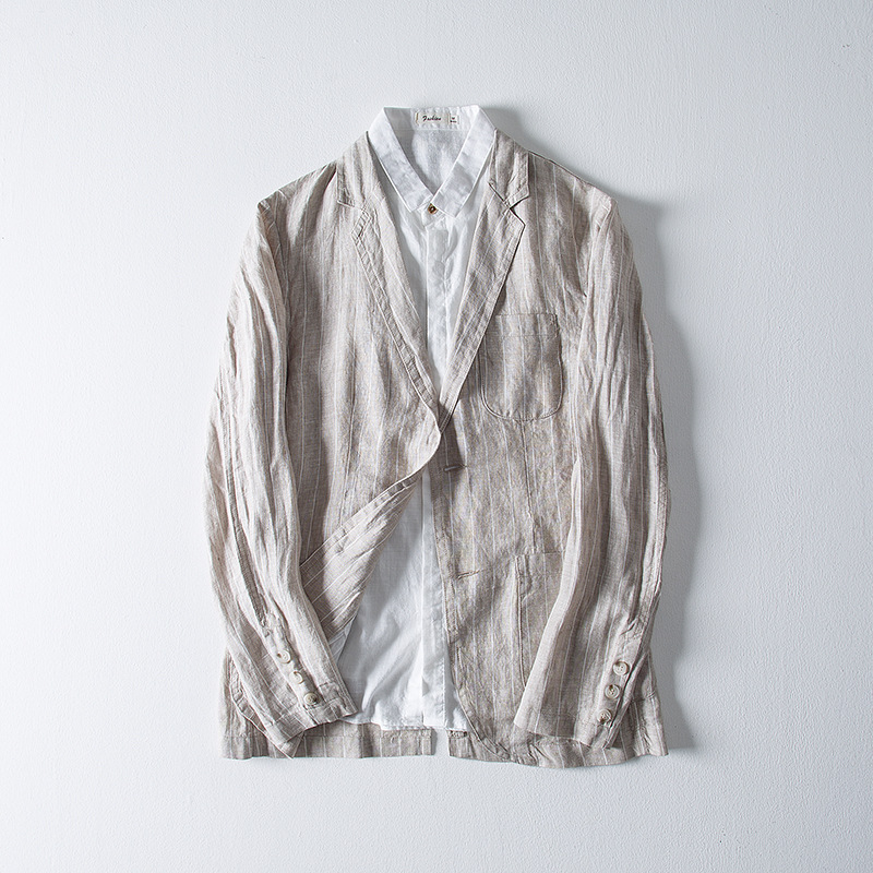 BOBO 2020 Men Fall Flax Leisure Blazers Stripe Long Sleeve Cotton And Linen BLAZERS