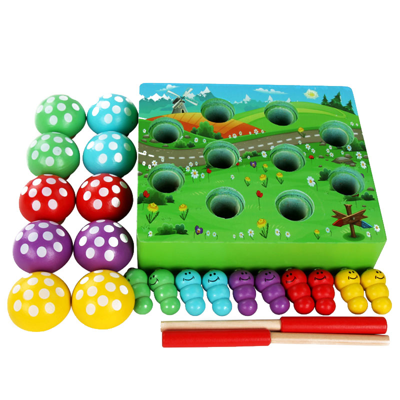 Hot-Magnetic Fishing Mushroom Forest Insects Catch Kids Toys Wooden Magnets Children Educational Toys