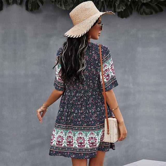 2021 Spring Print Short Dress Women Casual V Neck Bohemian Short Sleeve Dress For Woman Fashion Sexy Summer Dress 4