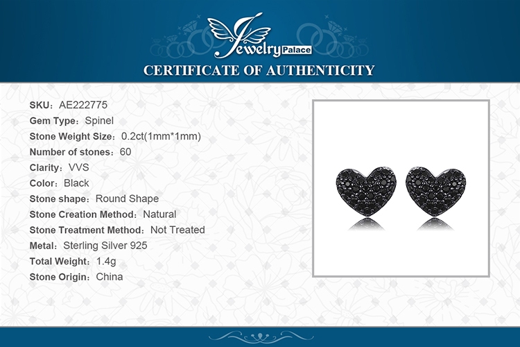 H4d7f9a051a574f7ab1737b153dc666caf JPalace Love Heart Genuine Black Spinel Stud Earrings 925 Sterling Silver Earrings For Women Korean Earings Fashion Jewelry 2019