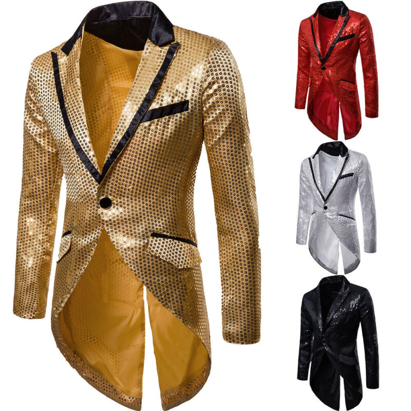 One Button Bling Sequins Gentleman Men Tuxedo Suit Party Wedding Coat Casual Blazer Jacket Red Gold Silver Black Solid Plus Size