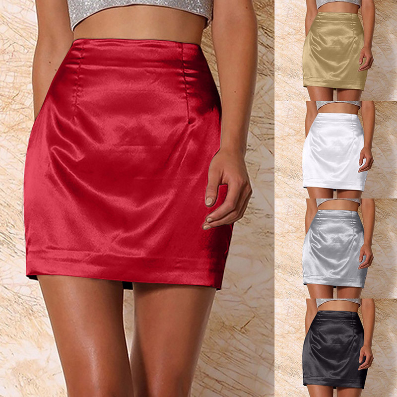 Sexy Women Mini Skirts Black High Waist Silk Satin Skirt Bodycon Elegant Straight Skirt Femme Clubwear Faldas Mujer Moda 2020 image