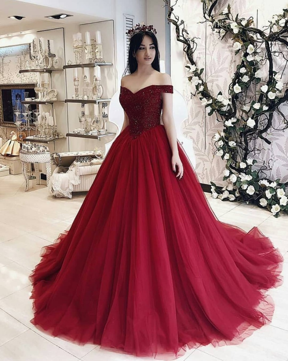 Red Ball Gown Quinceanera Dresses Arabic Dubai Off The Shoulder Beaded Top Burgundy Long Sweet 16 Dress 15 Years Birthday Gowns Quinceanera Dresses Aliexpress