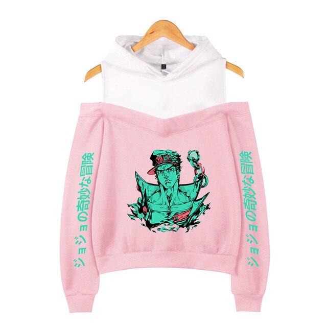 JOJO Bizarre Adventure Women Hoodies Sweatshirts Harajuku Streetwear Hip Hop Sexy Off Shoulder Fleece Hooded Jacket Female 3