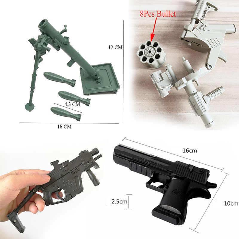 Пробник может запускать пулевой пистолет Модель пушки ракета Сборка игрушки Гатлин строительство строительный раствор военные украшения