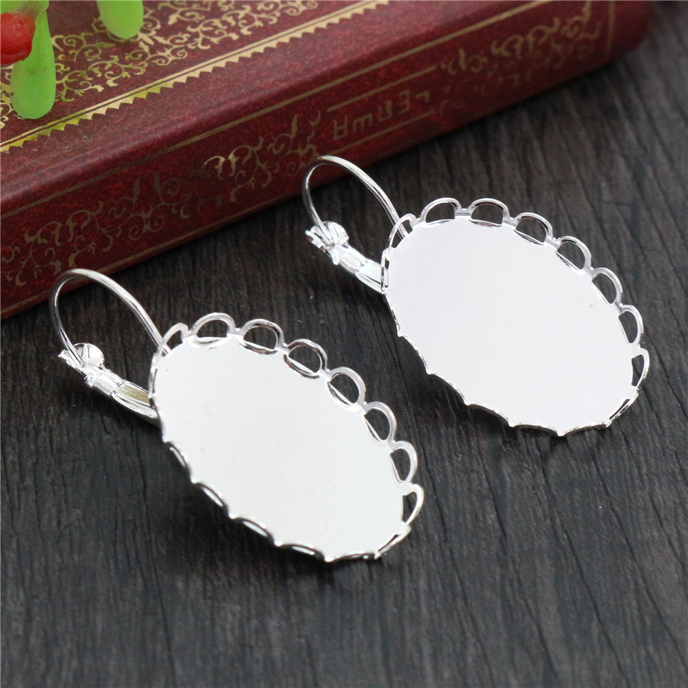 18x25mm 10pcs Bright Silver Plated French Lever Back Earrings Blank/Base,Fit 18x25mm Oval Glass Cabochons;Earring Bezels (L5-35)