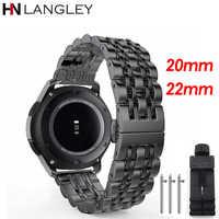 Zegarek ze stali nierdzewnej 20/22 MM do Samsung Galaxy Watch 42mm 46MM wymiana opaski na nadgarstek do biegów S2 S3 Classic/Frontier