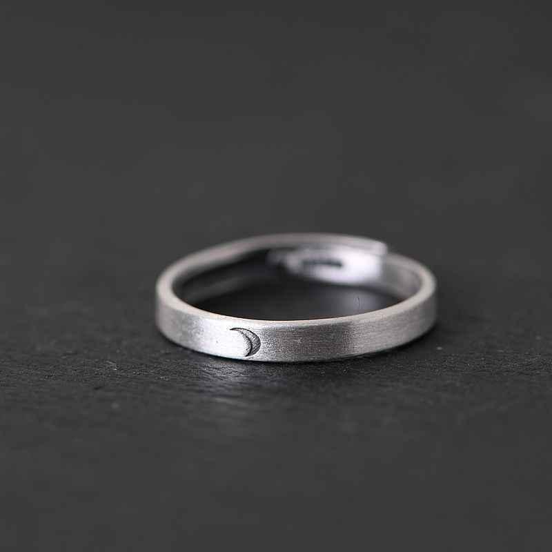 BALMORA 1 قطعة 925 فضة الشمس والقمر زوجين خواتم مفتوحة للنساء الرجال عاشق ريترو موضة التايلاندية الفضة والمجوهرات Anillos
