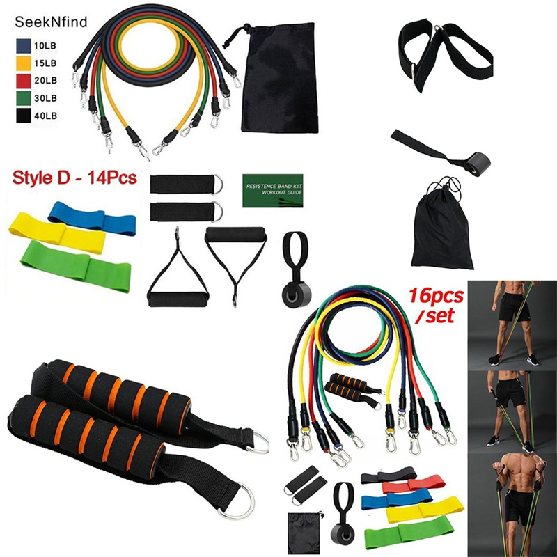 14/16Pcs Resistance Bands Set Expander Yoga Exercise Fitness Rubber Tubes Band Stretch Training Home Gyms Elastic Pull Rope
