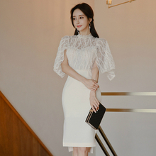 Plus Size Lace Patchwork White Dress Ladies Half Turtleneck Sheath Dinner for Women Sexy Bodycon Puff Sleeve Rope