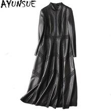 Ayunsue本革ジャケット秋のジャケットの女性シープスキンのコート女性ストリートロングトレンチコートヴィンテージウインドブレーカーMY4357