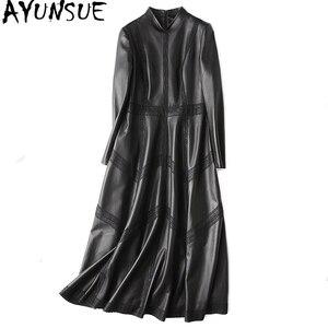 Image 1 - Ayunsue本革ジャケット秋のジャケットの女性シープスキンのコート女性ストリートロングトレンチコートヴィンテージウインドブレーカーMY4357