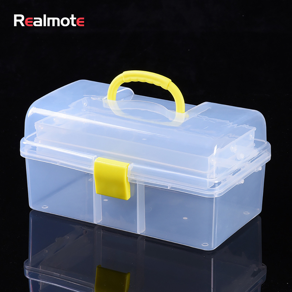 Realmote Transparent Plastic Three-layer Folding Toolbox Hardware Accessories DIY Tool Box Organizer Parts Case Storage Toolkit