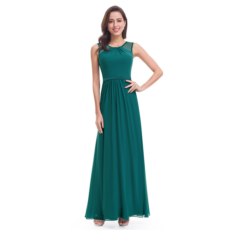 It's Yiiya Evening Dresses Chiffon A-Line Sleeveless Solid Robe De Soiree C431 Floor-Length Plus Size O-Neck Dress Woman Party