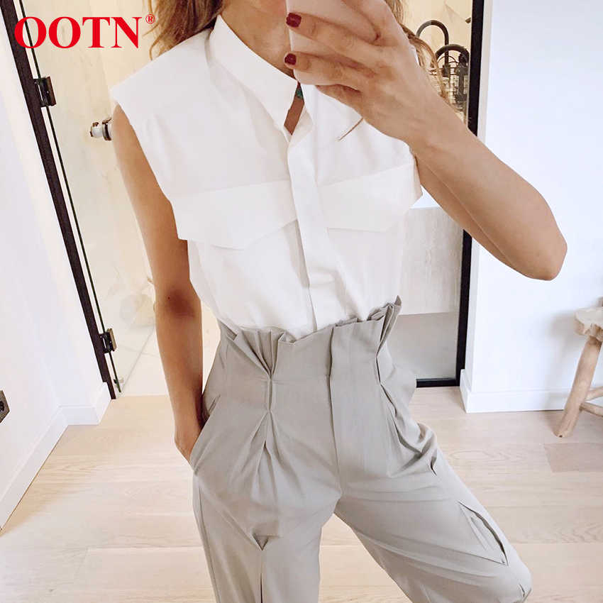 OOTN 스탠드 칼라 여름 민소매 셔츠 Office Ladies White Womens 탑과 블라우스 2020 Fashion Chic Padded Shoulder Top