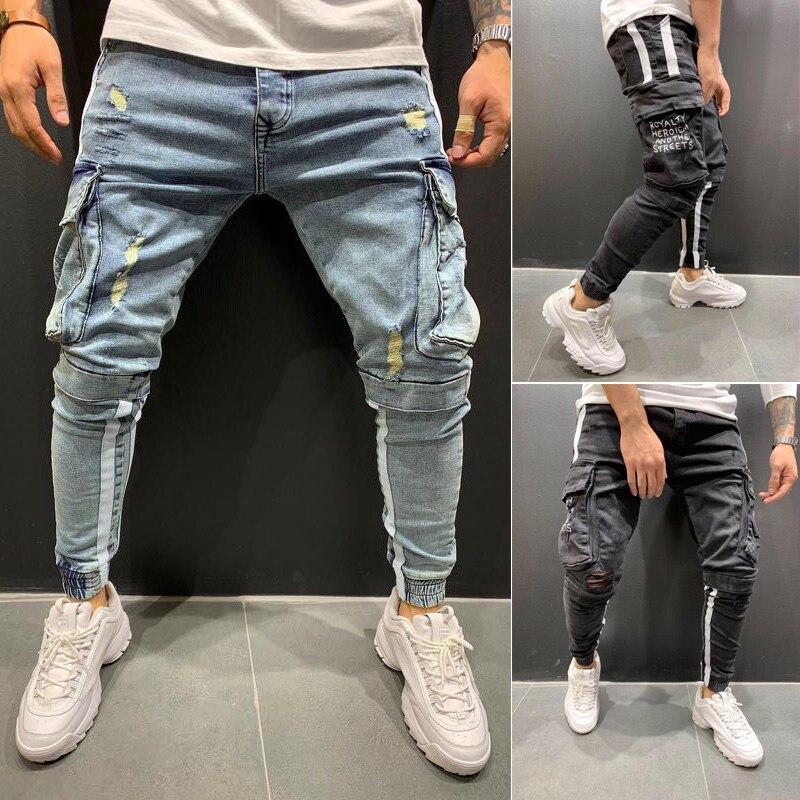 New Men Skinny Jeans Ripped Jeans Destroyed Frayed Jeans Slim Fit Pant Denim Pants Men Jeans Men Pant Long Trouser
