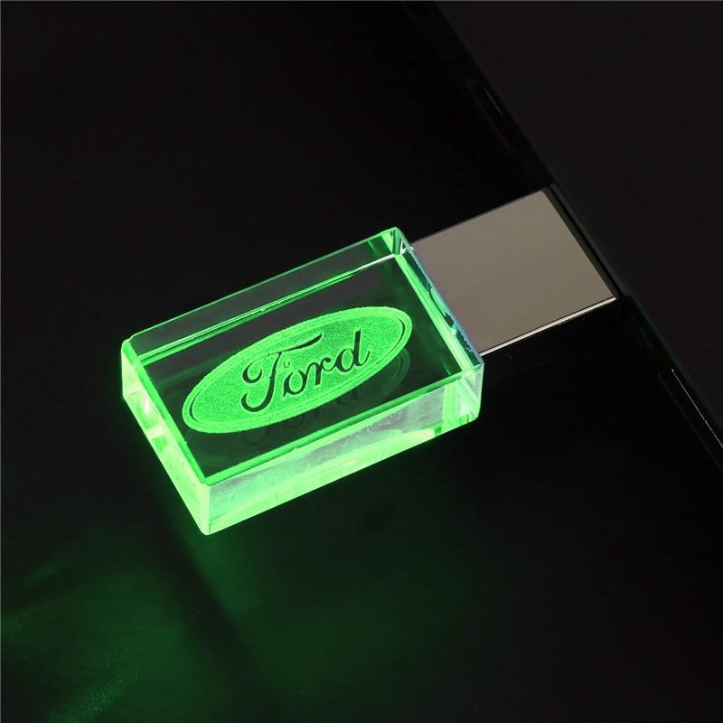 Ford Kristal Metalen Usb Flash Drive Pen Drive 4Gb 8Gb 16Gb Pendrive 32Gb 64Gb 128gb Externe Opslag Memory Stick U Disk 2
